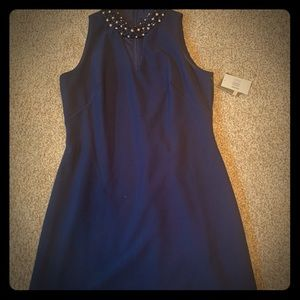 Midnight navy dress with beaded collar